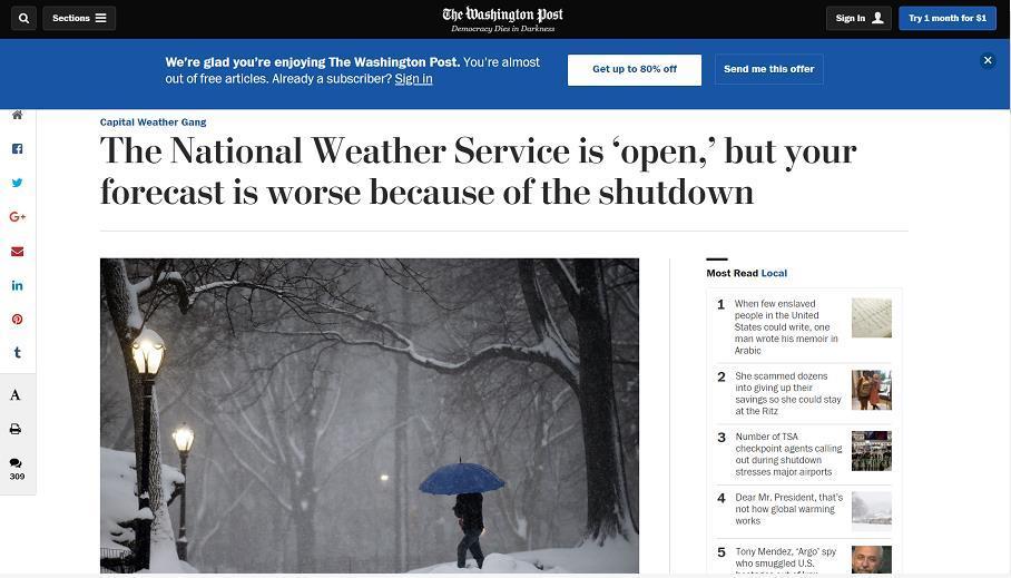 """美国又一冬季风暴""""哈珀""""来袭 政府关门""""雪上加霜"""""""