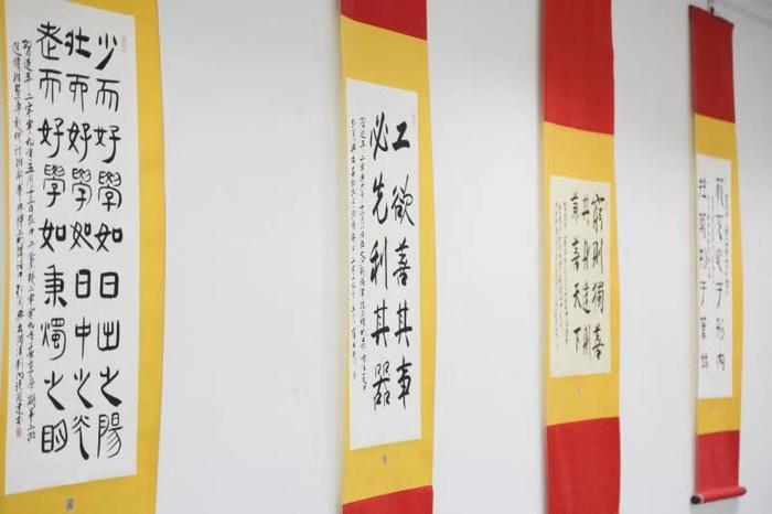 """""""学习强国""""""""学习达人""""薛在银学习《习近平用典》书法作品展在山东省图书馆举行"""