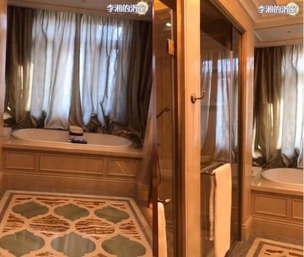 李湘家奢华浴室曝光:水晶吊灯土豪金镜框大理石浴缸气派十足