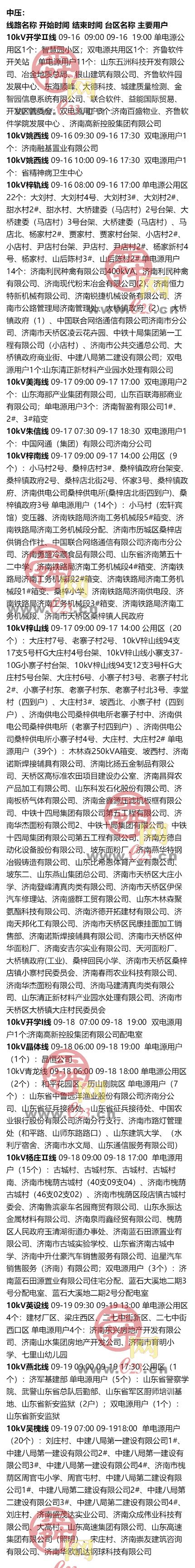 9月14日至9月20日济南部分区域电力设备检修通知