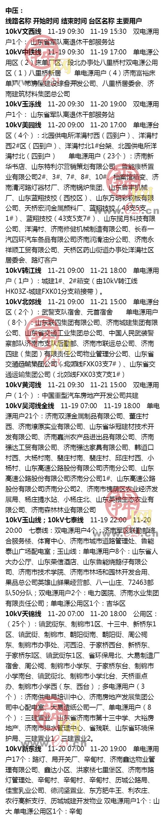 11月17日至11月23日济南部分区域电力设备检修通知