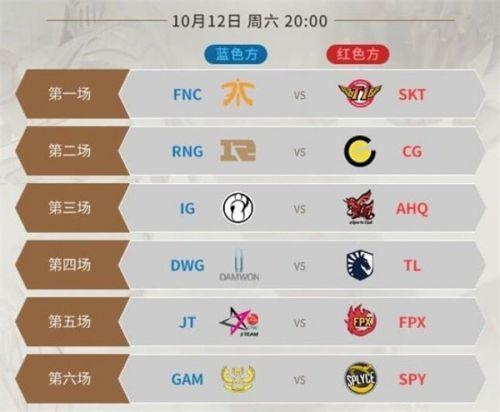 《LOL》S9小组赛10月12日赛程安排 比赛直播地址