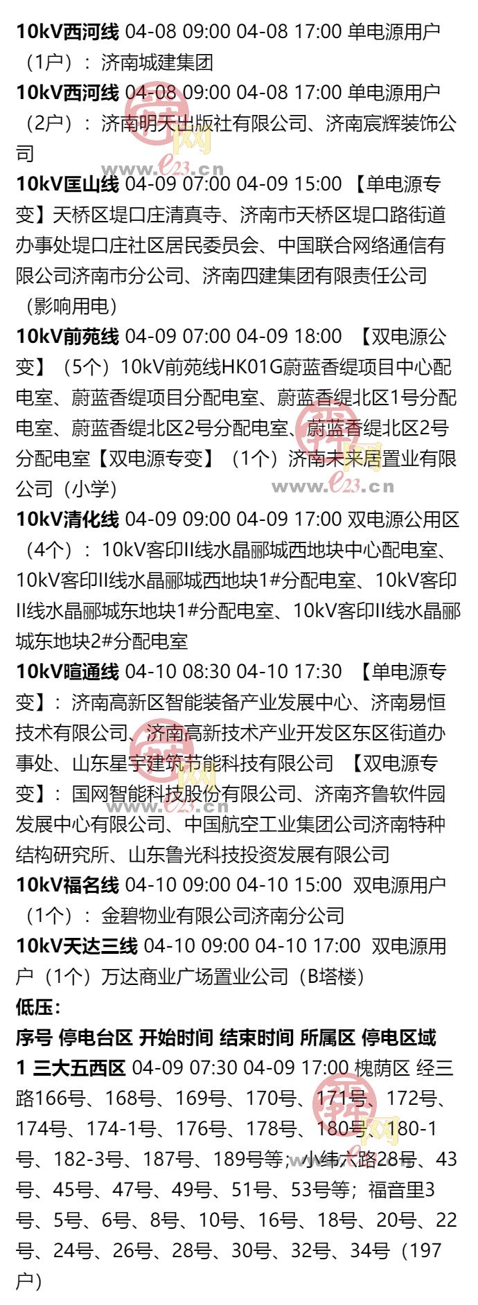 2020年4月4日至4月10日濟南部分區域電力設備檢修通知