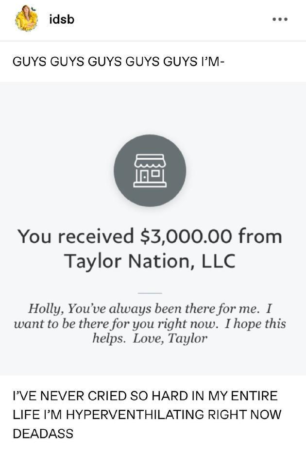 正能量偶像!霉霉向多位受疫情影响粉丝捐3000美金:现在轮到我来支持你