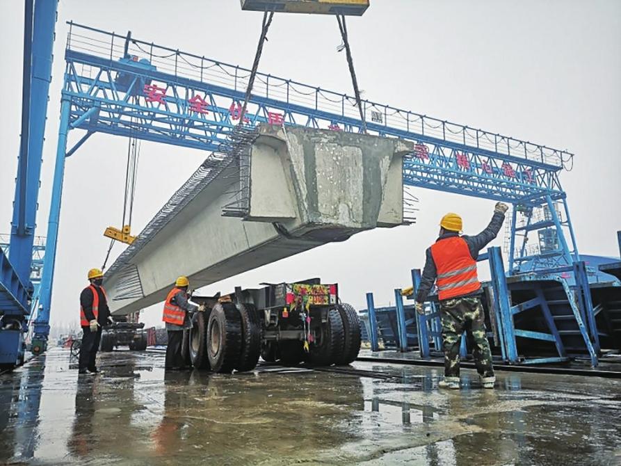 新台高速项目复工后首片箱梁浇筑完成
