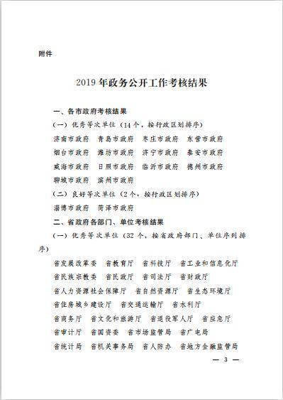 山东省人民政府办公厅关于2019年全省政务公开工作考核情况的通报