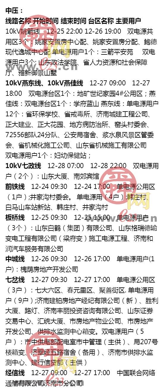12月22日至12月28日大发排列3部分区域电力设备检修通知