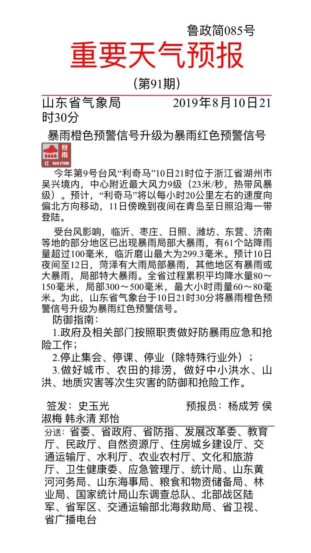 预警升级!山东省气象台发暴雨红色预警!