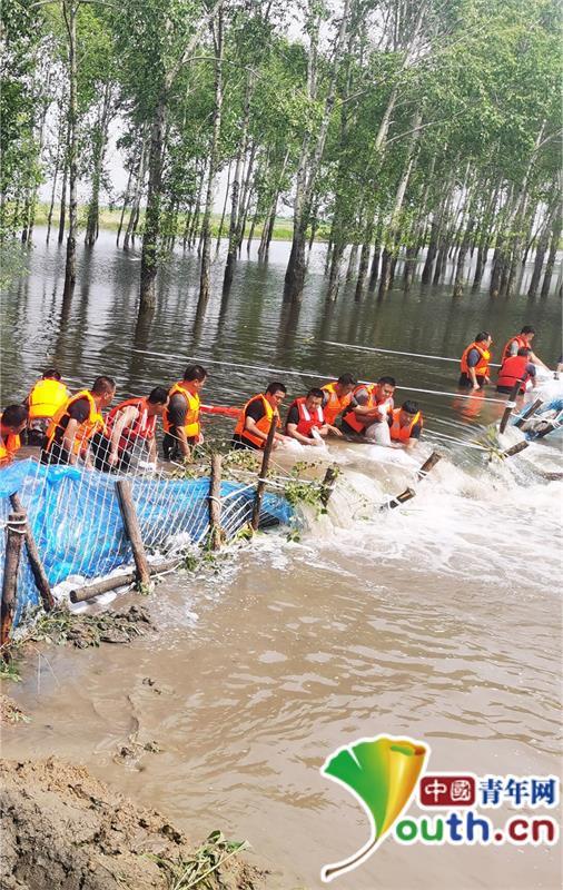 齐齐哈尔:堤坝两次决口 民警排人墙打桩堵缺口