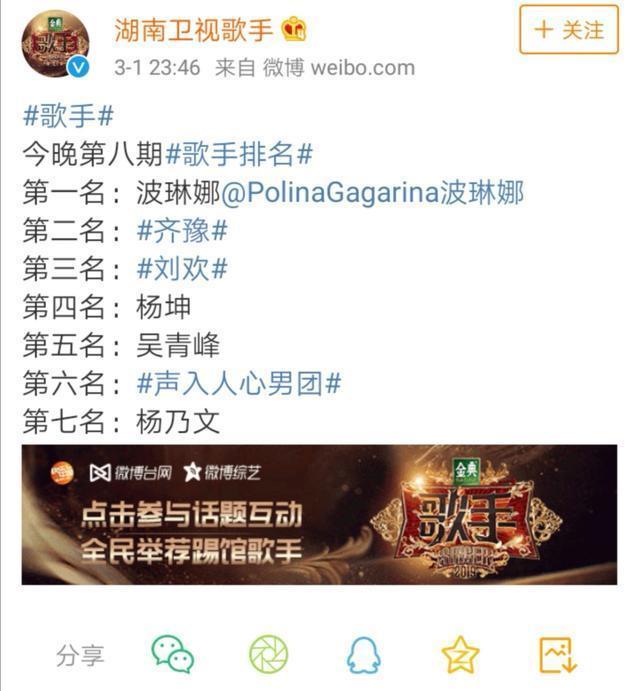 2019歌手波琳娜重播被剪 歌手总决赛杨乃文淘汰冠军是她