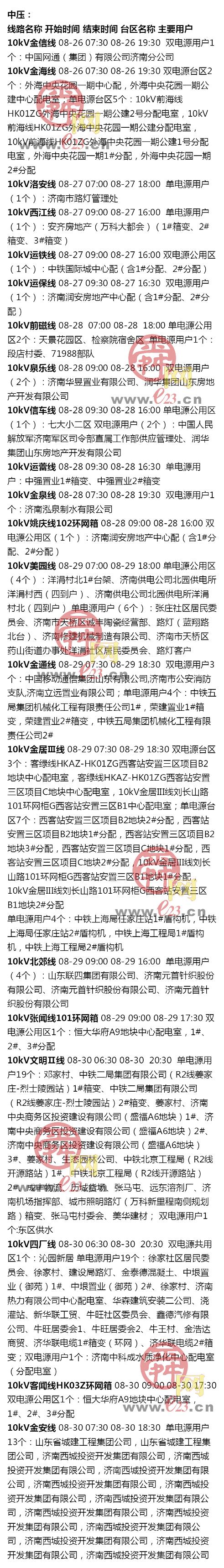 8月24日至8月30日济南部分区域电力设备检修通知