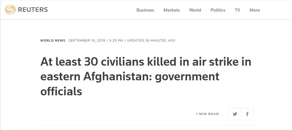 """阿富汗安全部队对IS发动空袭""""意外""""击中平民 至少30人死"""