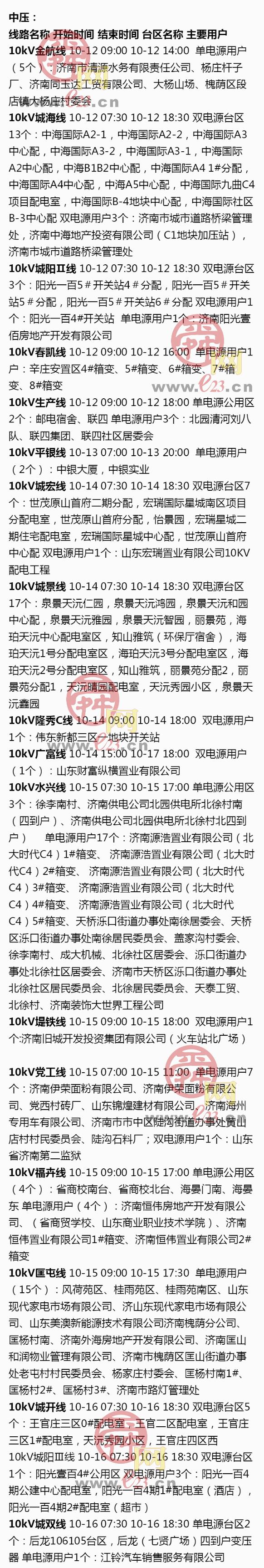 10月12日至10月18日济南部分区域电力设备检修通知