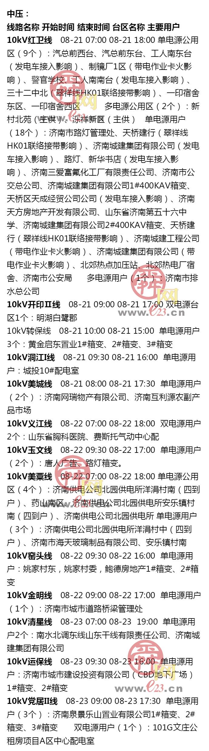 8月17日至8月23日必威betway部分区域电力设备检修通知