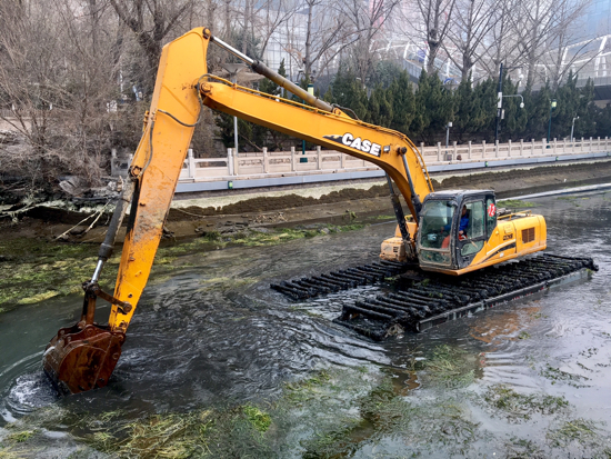 济南护城河治理施工过半 15日将完工
