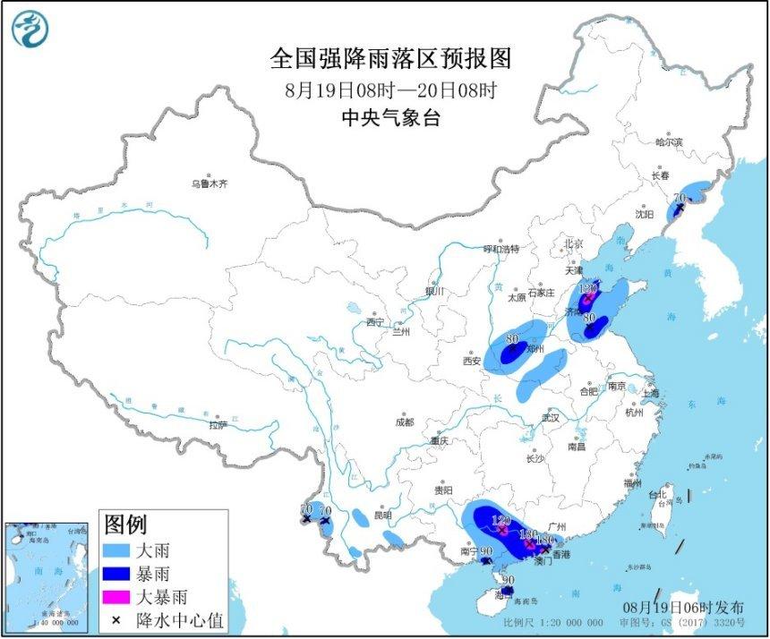暴雨黄色预警:山东、广西、广东等局地有大暴雨