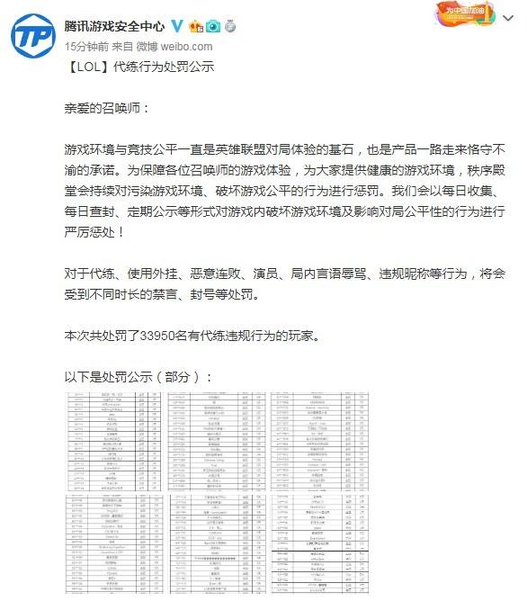 《英雄联盟》官方封禁3万多代练违规账号 部分账号被公示