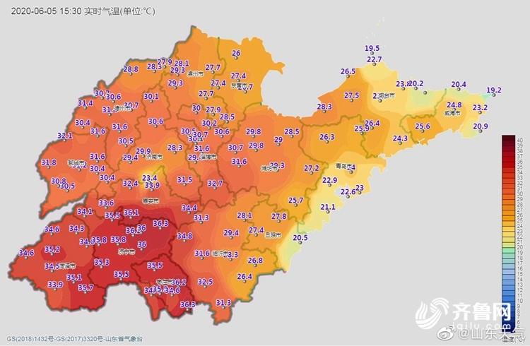 周末山东最高温超40℃!来看全国晒黑预警地图