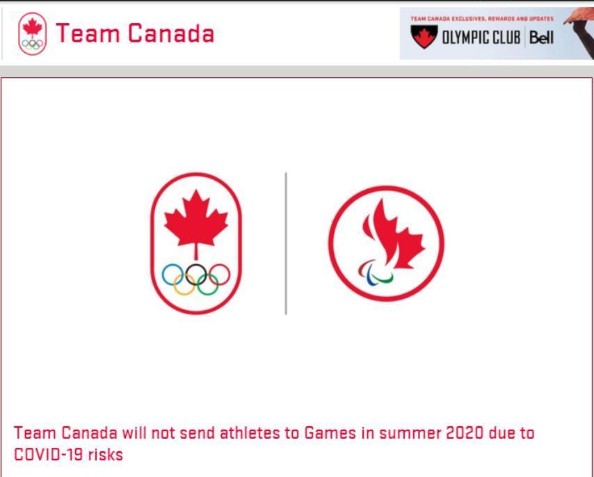 加拿大奥委会:鉴于新冠肺炎疫情风险 将不参加2020东京奥运会