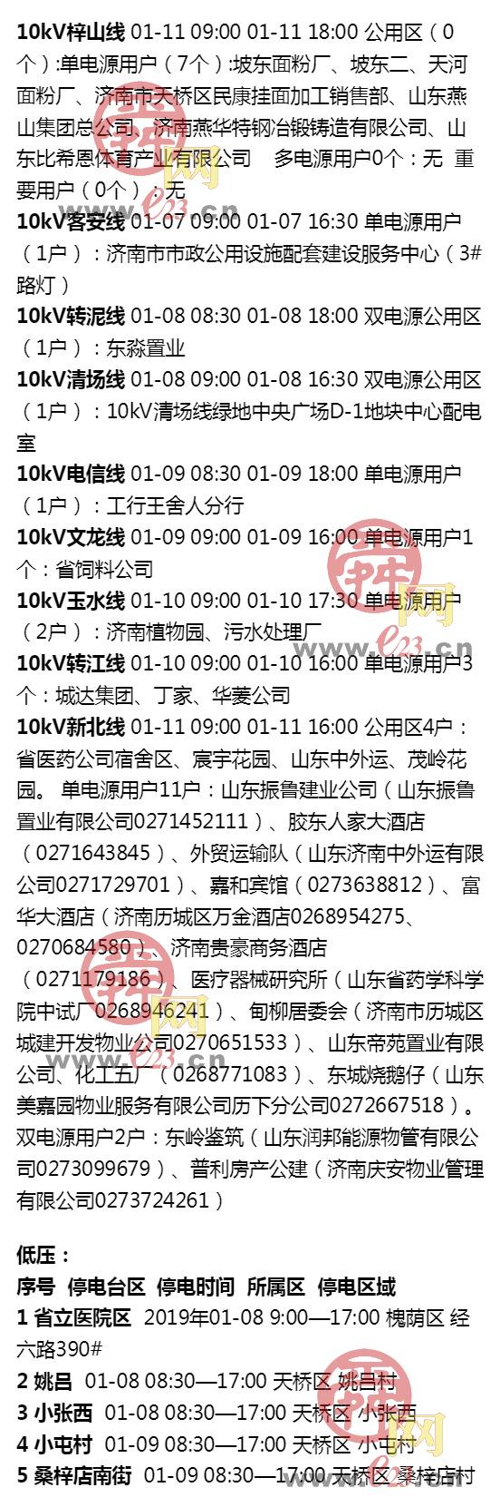 2019年1月5日至1月11日大发排列3部分区域电力设备检修通知