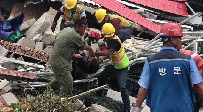 哀悼!柬埔寨一大楼坍塌 目前死亡人数已增至24人另有多人受伤