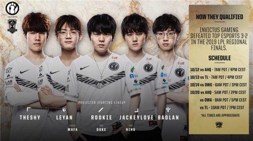 英雄联盟S9总决赛各队首发阵容公布