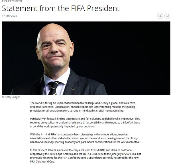 因凡蒂诺:国际足联将商讨2021年世俱杯推迟举办