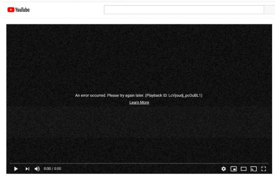YouTube网页上向部门用户表现错误页面环球宕机 团队:对由此形成的未便深表歉意