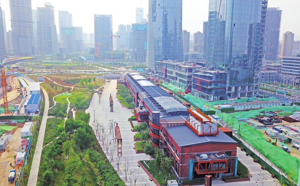 济南中央商务区绸带公园即将完工