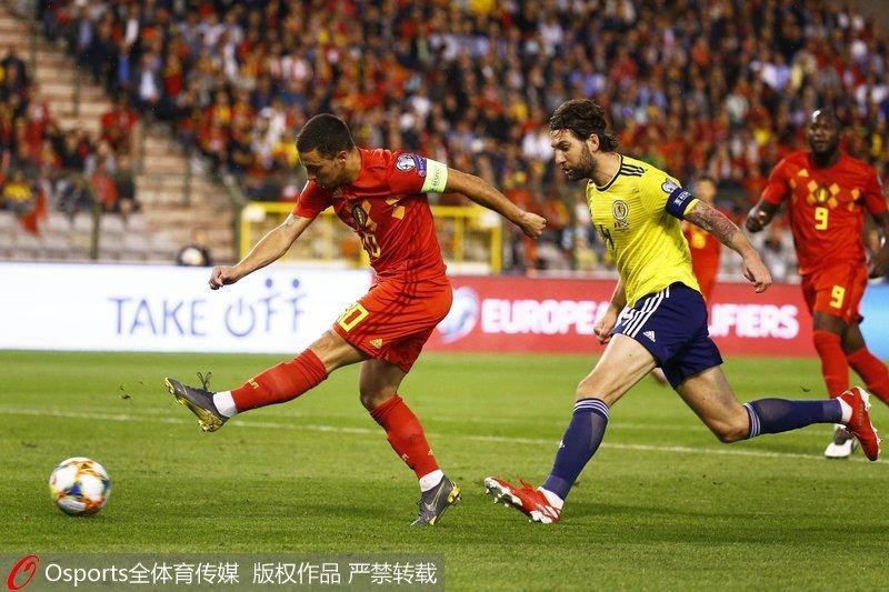 欧洲杯-卢卡库双响德布劳内破门 比利时3:0胜苏格兰