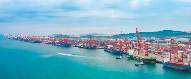 国庆假期首日山东港口各大码头船舶爆满、车船如织
