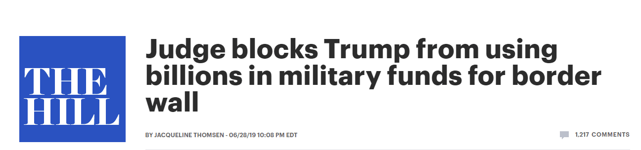 美联邦法官发布永久禁令 阻止特朗普政府用军费修墙
