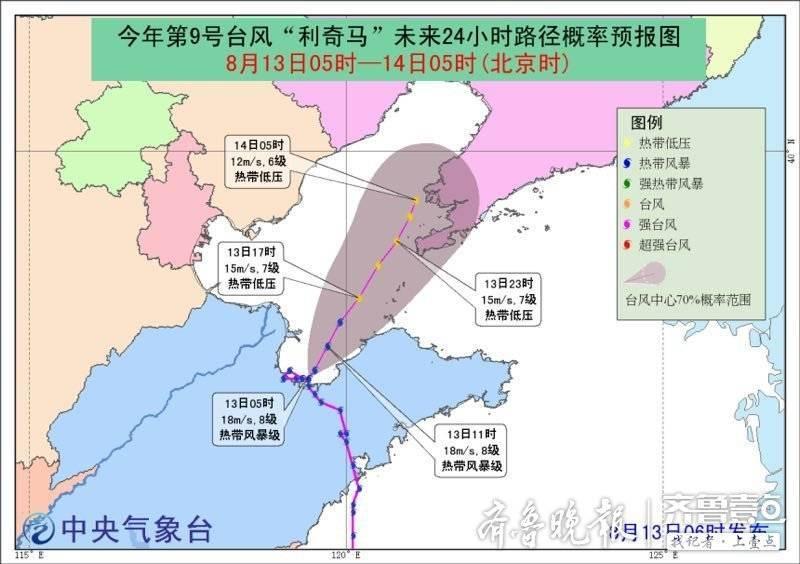 """最新动态!""""利奇马""""位于烟台西北部近海,向北偏东移动强度减弱"""