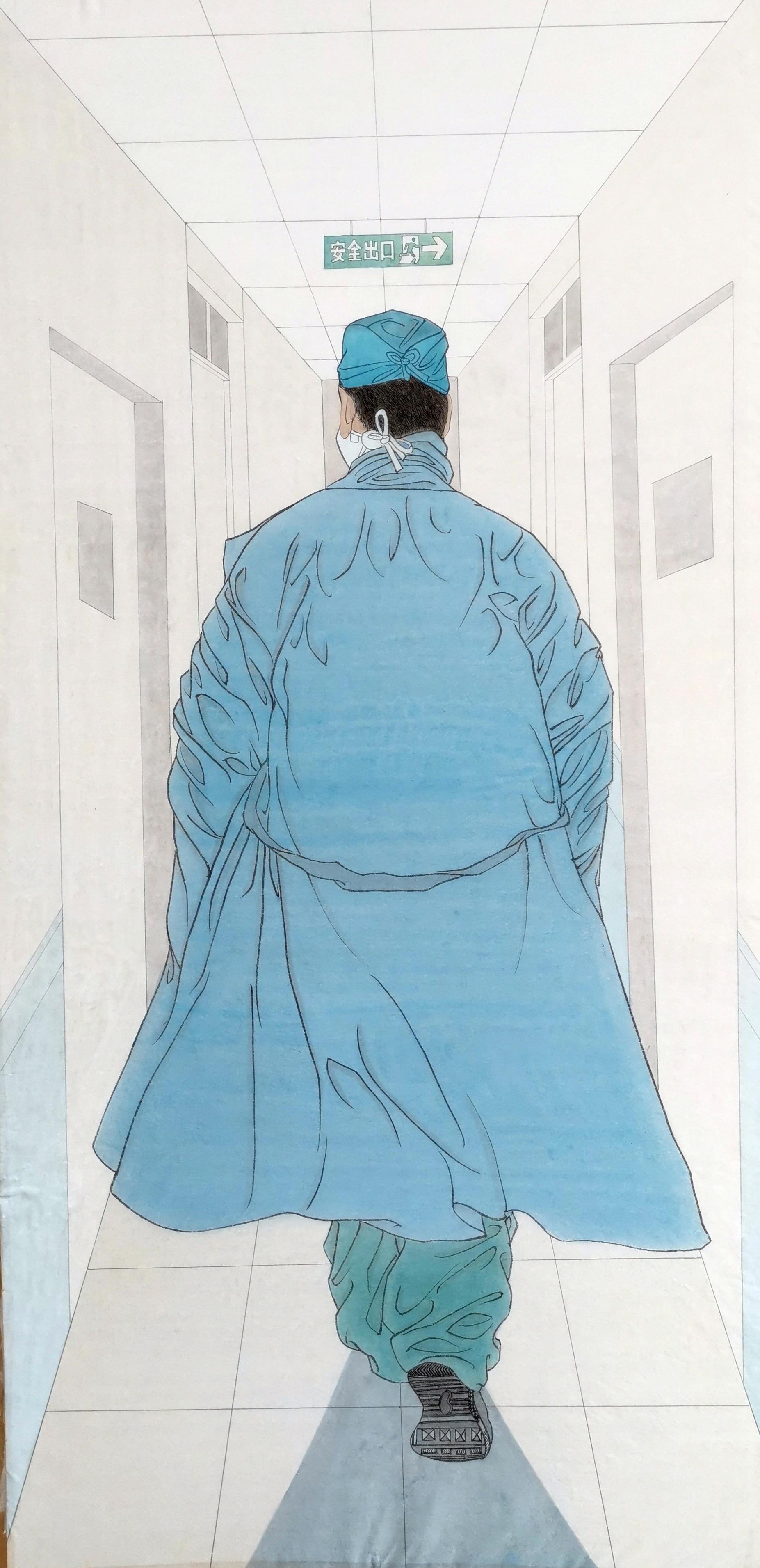 山东文艺工作者画笔描绘《最美出征》
