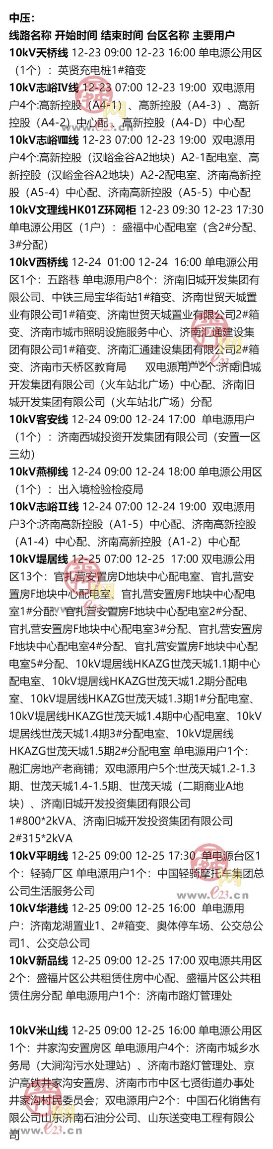 12月21日至12月27日济南部分区域电力设备检修通知